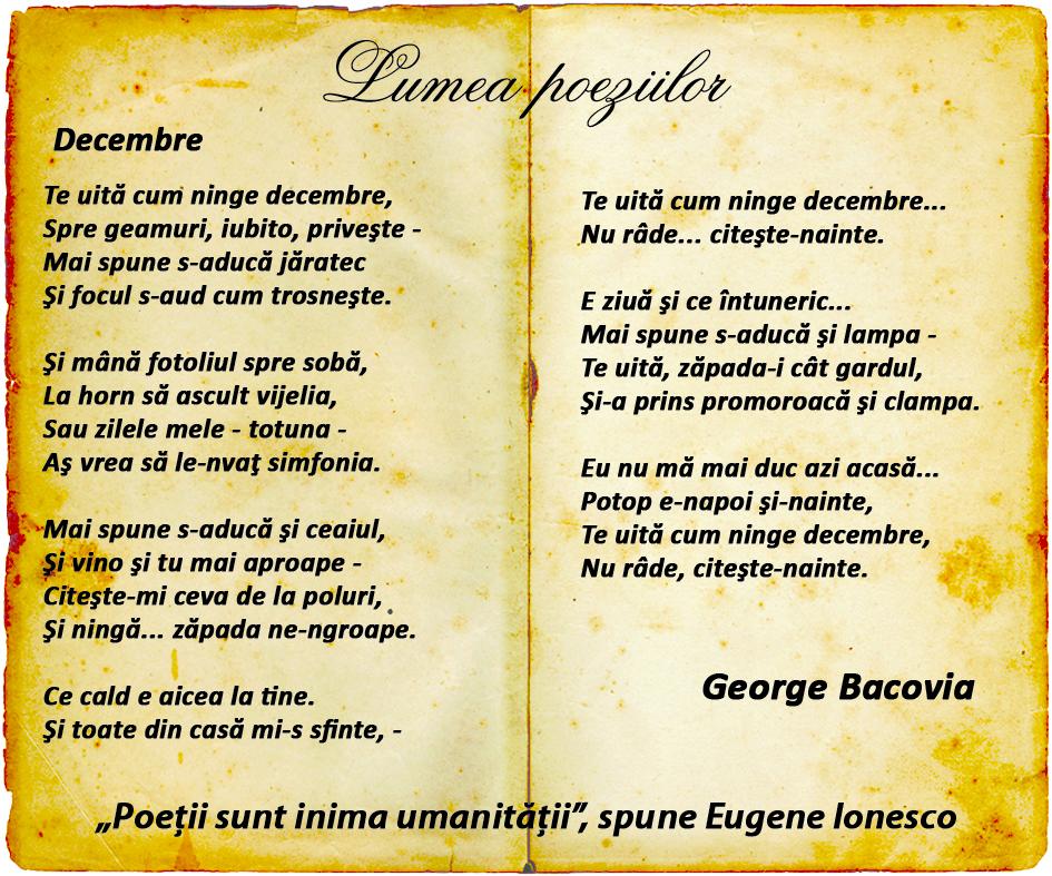 George Bacovia decembre comentariu