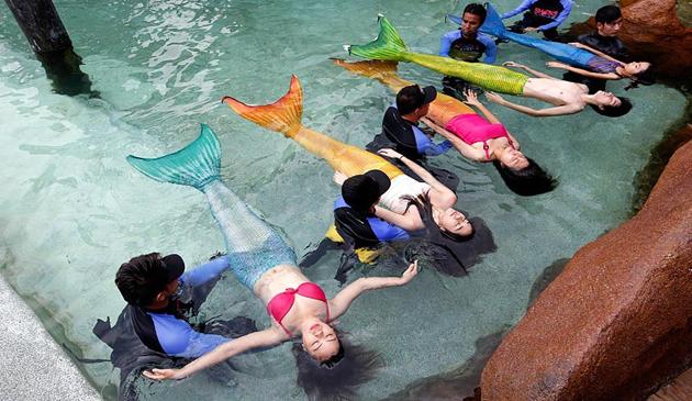 Filipine, curs sirena, Parcul Acvatic Manila, Mermaid Swim Experience