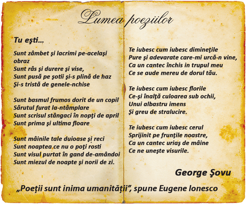 Lumea poeziilor: George Șovu - Tu ești