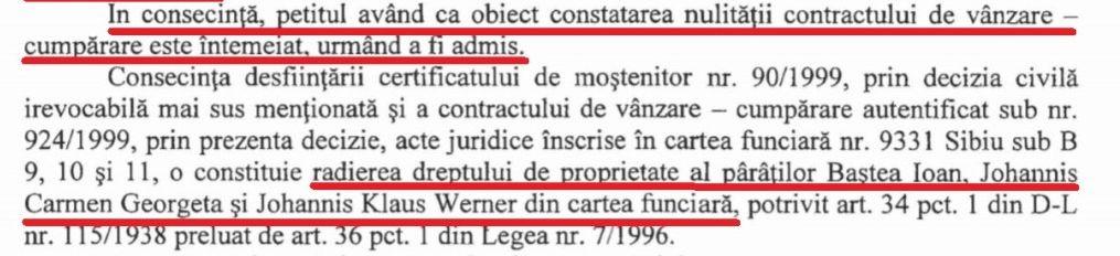 Extras din decizia Tribunalului Brașov, pronunțată în mai 2014, prin care se dispune anularea titlului de proprietate al familiei Ioahnis pentru clădirea de pe Strada Nicolae Bălcescu nr. 29. Decizia a rămas definitivă prin verdictul Curții de Apel Brașov din noiembrie 2015.