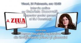 Interviu online cu Gabriela Bucovală, inspector şcolar general al ISJ Constanţa, despre noutăţile legislative din învăţământul primar şi gimnazial