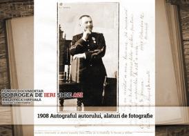 Autograful lui Marin Ionescu Dobrogeanu alaturi de fotografie
