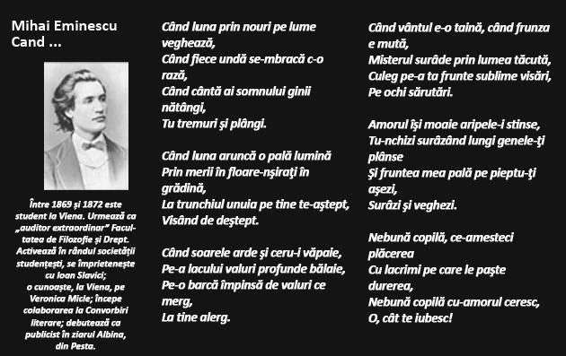 Михай эминеску стихи на молдавском