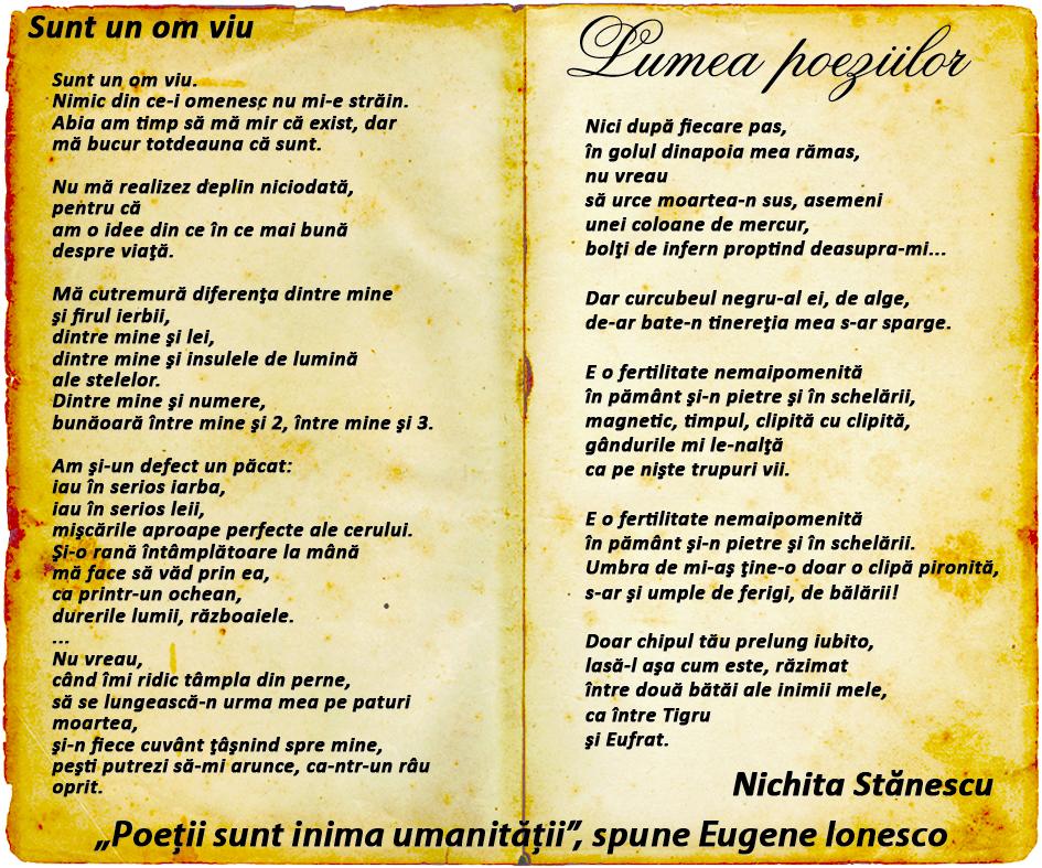 Lumea poeziilor: Nichita Stănescu - Sunt un om viu