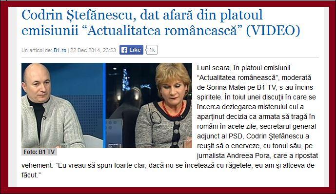 Scandal la B1tv. Andreea Pora-Daca nu se inceteaza cu ragetele...: Sorina Matei l-a dat afara din emisiune pe(...)