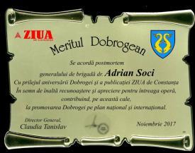 #sărbătoreșteDobrogea: Distincția Meritul dobrogean și medalia comemorativă Remus Opreanu acordate generalului Adrian Soci fost comandant al Brigăzii 9 Mecanizată Mărășești