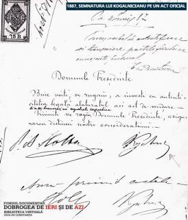 Semnătura lui Kogălniceanu pe un act oficial