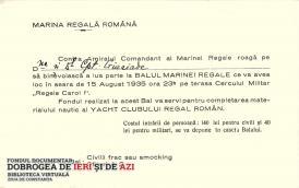 O invitație la Balul Marinei Regale, programat pe 15 august 1935