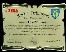 #sărbătoreșteDobrogea Distincția Meritul dobrogean și medalia comemorativă Remus Opreanu acordate lui Virgil Coman