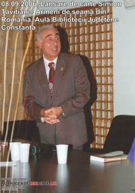 """8 septembrie 2006, Biblioteca Judeţeană Constanţa, Lansare de carte Simion Tavitian - """"Armeni de seamă din România"""""""