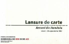 "28 septembrie 2007, Lansare de carte ""Armeni din Romania vol. II"""