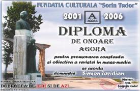 """Aprilie 2006, Simion Tavitian - Diplomă de onoare Agora. Fundaţia culturală """"Sorin Tudor"""""""