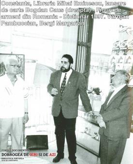 """1997, Constanţa, Librăria Eminescu, Lansare de carte Bogdan Căuş - """"Figuri de armeni din România - Dicţionar"""""""