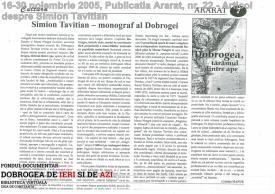 Articol despre Simion Tavitian - Publicatia Ararat, nr. 22, 16-30 noiembrie 2005