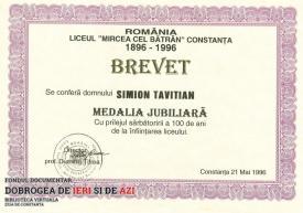 Medalia Jubiliară, Liceul Mircea cel Batrân Constanța, 21.05.1996