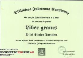 Diploma Liber gratus - Biblioteca Județeană Constanța, 23.04.2003