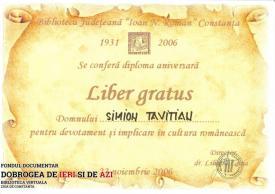 Diploma Liber gratus - Biblioteca Județeană Ioan N. Roman Constanța, 23.11.2006