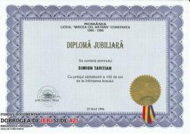 Diploma Jubiliară, Liceul Mircea cel Batrân Constanta, 25.05.1996