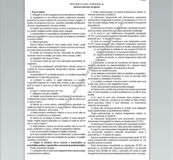 a fost publicat in monitorul oficial ordinul privind obligativitatea purtarii mastii si a triajului epedimiologic