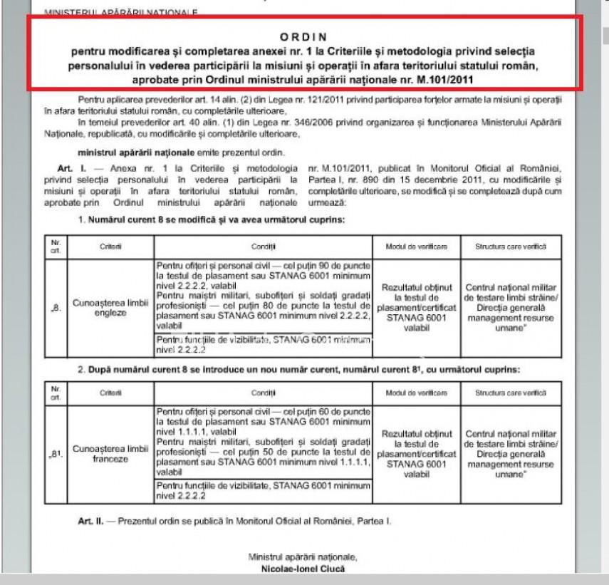 s a publicat ordinul privind selectia personalului in vederea participarii la misiuni si operatii in