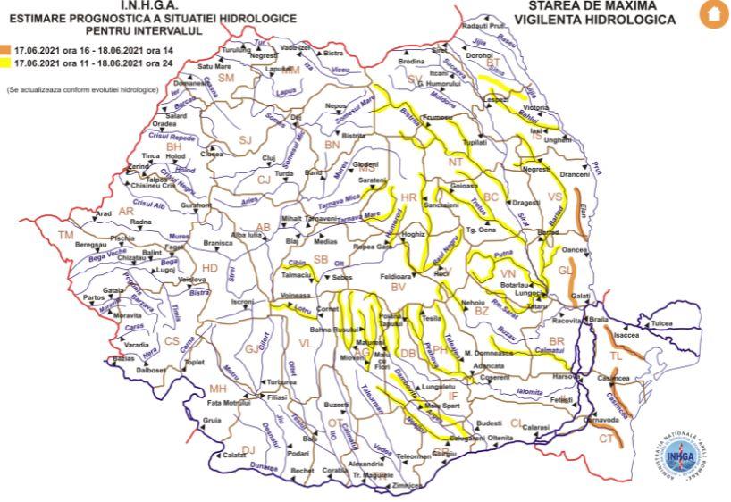 INHGA: Cod portocaliu de inundatii pe raurile din judetele Constanta si Tulcea. Cand expira avertizarea hidrologilor