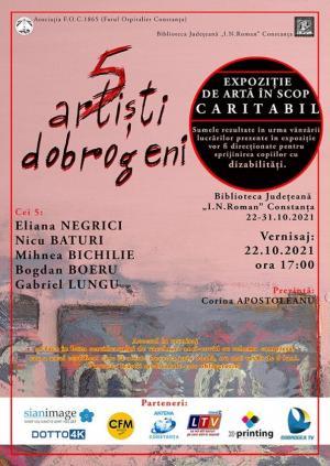 """Expoziție caritabilă de artă """"5 artiști dobrogeni"""", la Biblioteca Județeană """"Ioan N. Roman"""" Constanța"""